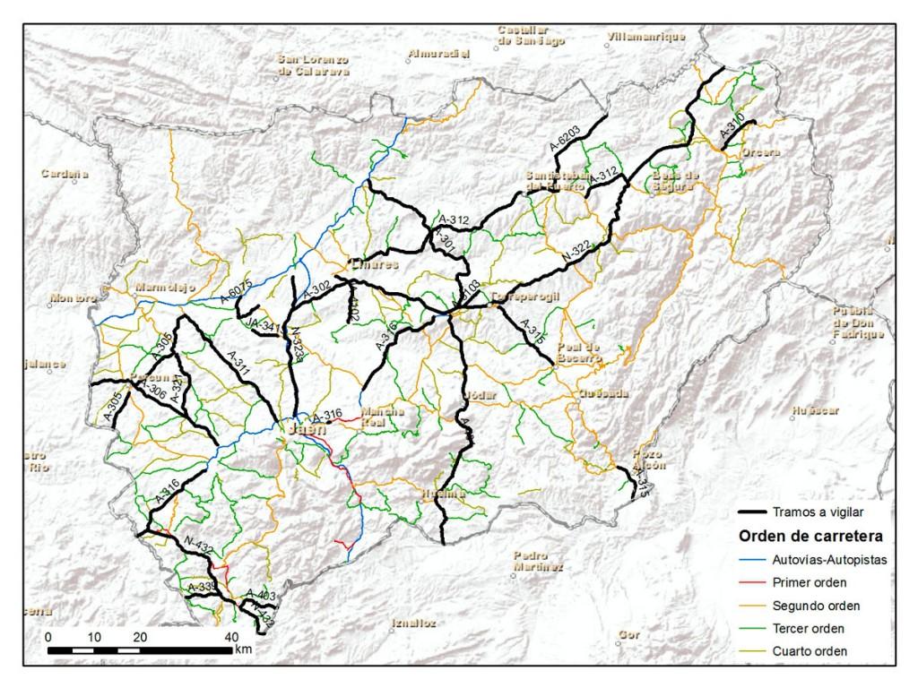 Control en tramos peligrosos de carreteras de la provincia