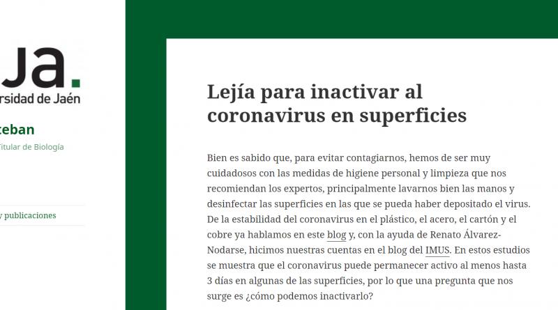 El investigador de Biología Celular de la UJA Francisco J. Esteban reúne y aclara en su blog resultados de investigación aportados por la comunidad científica sobre el COVID-19