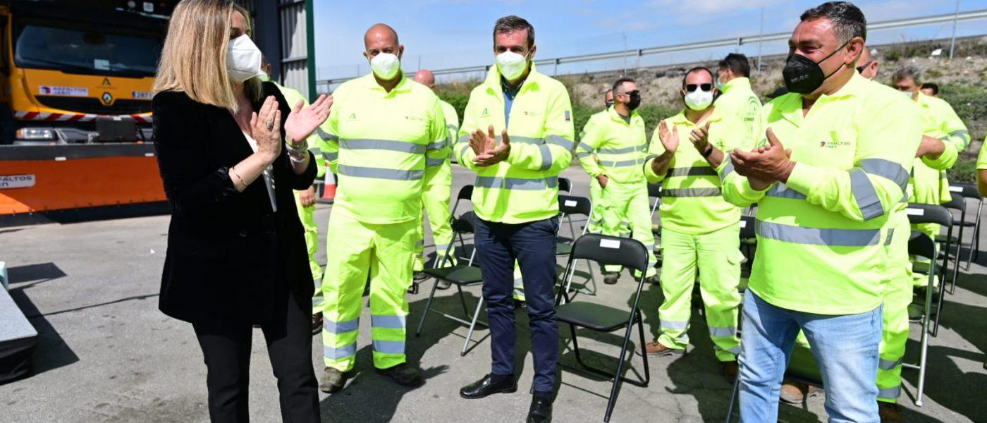 La Junta homenajea a los trabajadores que fueron a Madrid durante la borrasca Filomena